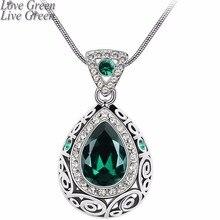 Винтажный качественный свадебный золотой цвет ангел океан слеза дизайн кулон с зелеными кристаллами ожерелье ювелирные изделия 84191