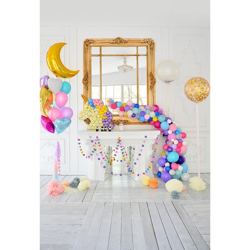 S-3088 Unicorn Balloon Party Happy Birthday Baby Newborn Child Photo Background Photography Backdrops