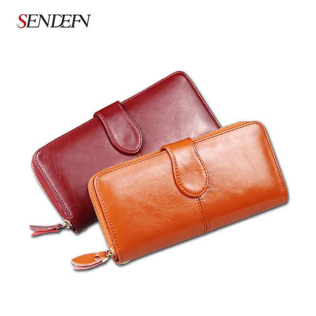 100% Oil Wax Cowhide Leather Women Wallet Phone Pocket Purse Wallet Female Card Holder Lady Clutch