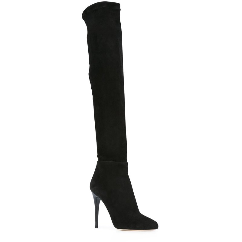 2018 themost new autumn and winter fashion sexy deerskin down knee boots high heel with 11 cm large size 33-48 thigh boots