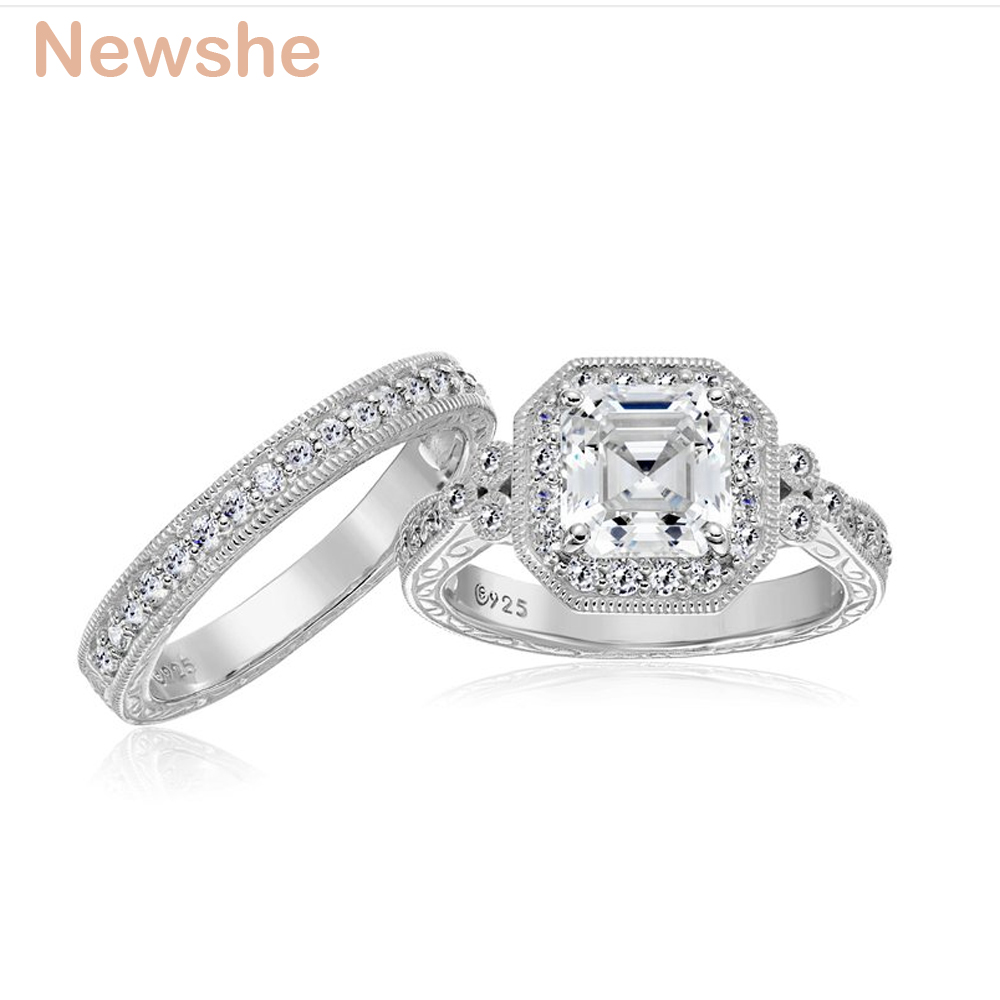 Image 5 - Newshe Genuine 925 Sterling Silver Halo Wedding Engagement Ring Set 1.2 Ct AAA Princess CZ Fashion Jewelry For Women JR4970fashion ring setring setwedding ring set -
