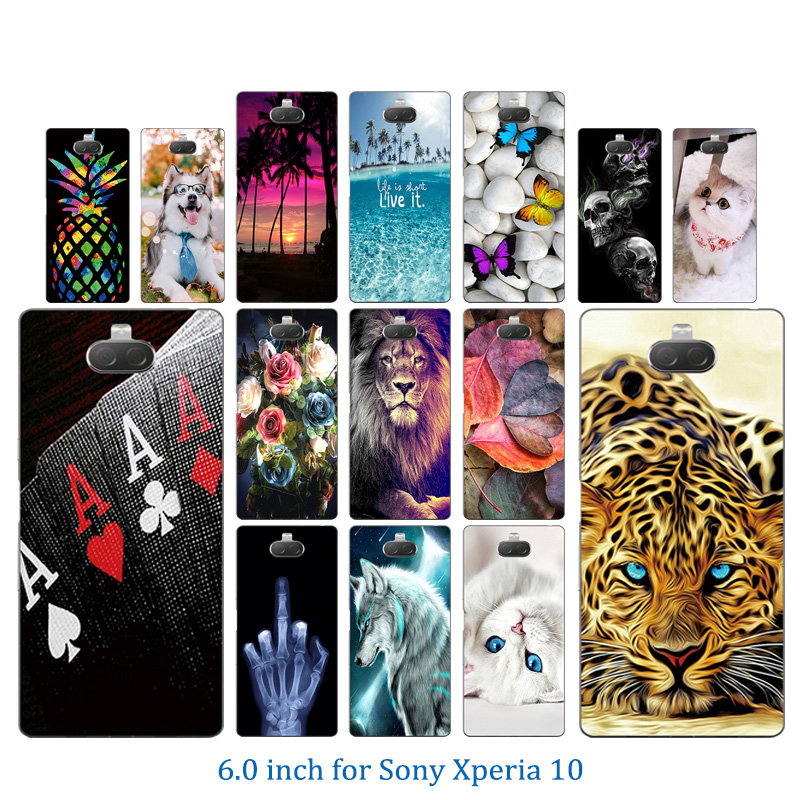 Crystal Mobile Phone Case For 6.0 Inch Sony Xperia 10 Luxury Transparent Silicone Marb Pattern For Xperia XA3 Prime Bumper