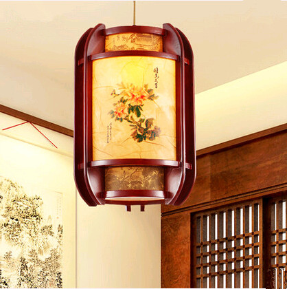New Chinese peony pattern wood art Chandelier Elegant through-carved yellow shade LED lamps for corridor&porch&stairs GMS001 bestlead chinese peony pattern zirconia ceramics 4 6 knife chopping knife peeler holder