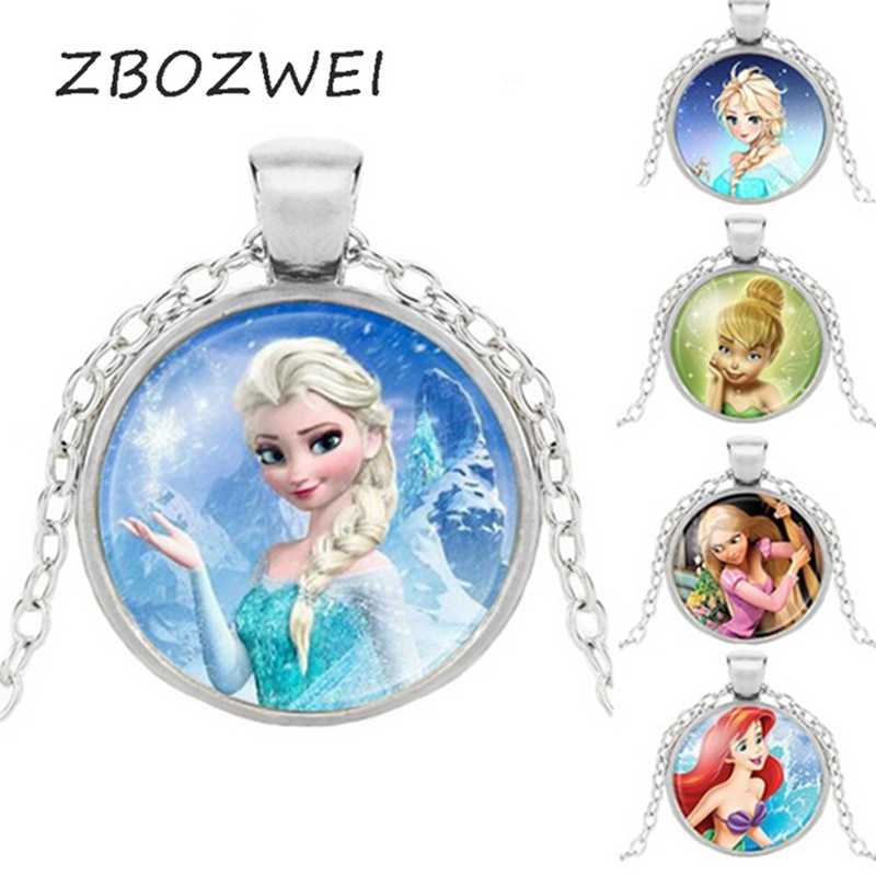 Brand Ladies Long Chain Jewelry Necklace Crystal Cabochon Princess Elsa Anna Snow Queen Necklace Girls Customizable Elsa Anna