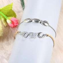 Boho Beach Wave Shell Ankle Bracelet Silver for Women Fashion Charms Chain Anklets Female