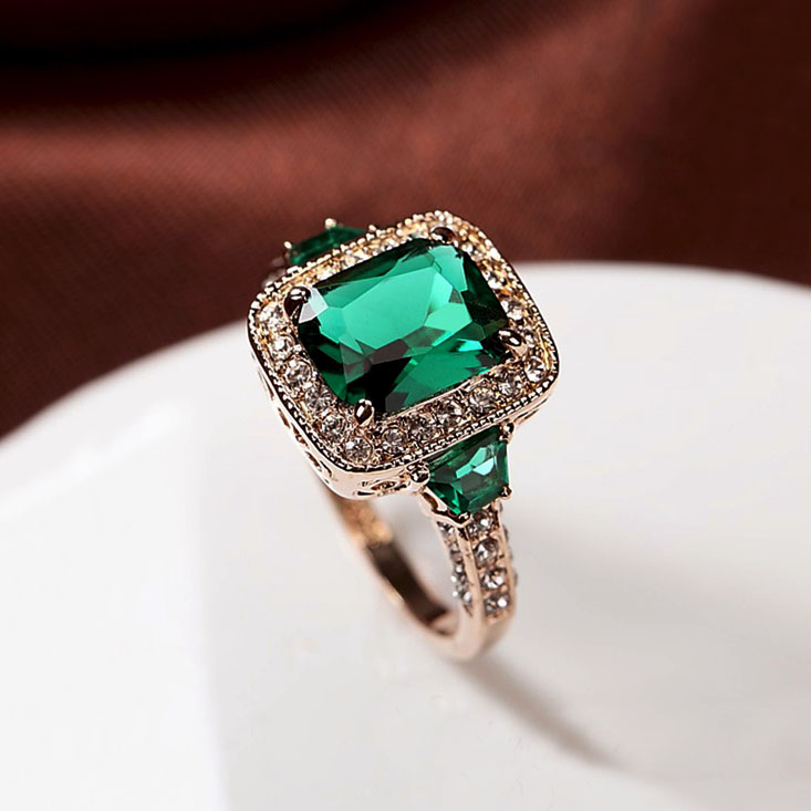 emerald green rings product new ring stone fashion sterling women jewelry cubic simple silver for