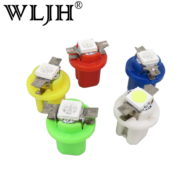 WLJH 10x Bright White B8.5D B8.5 T5 LED 509T Car Led Gauge 1SMD 5050 Led Speedo Dash Bulbs Instrument Light Bulb Dashboard Light