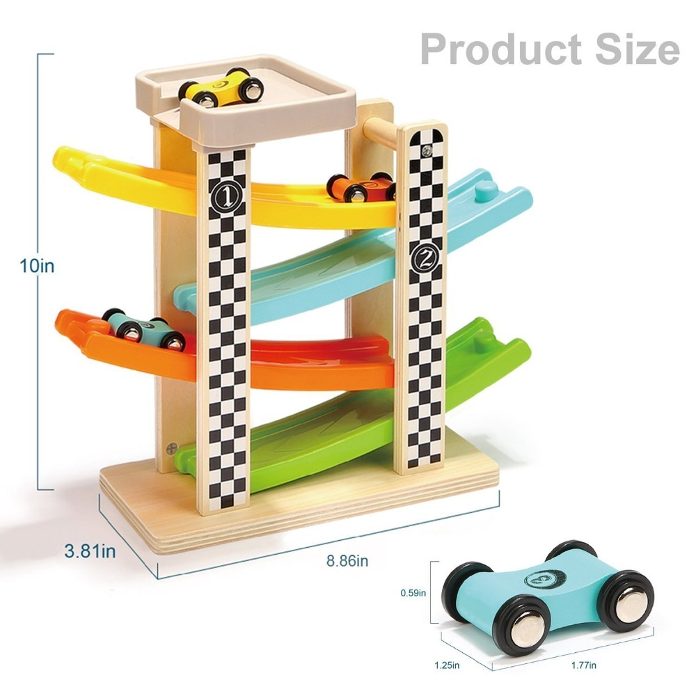 Wooden Track Car Toys Gliding Cars Race 4 layers Slider Ladder Slot Track Play set for Kids Turn back Ramp Car Racing Games