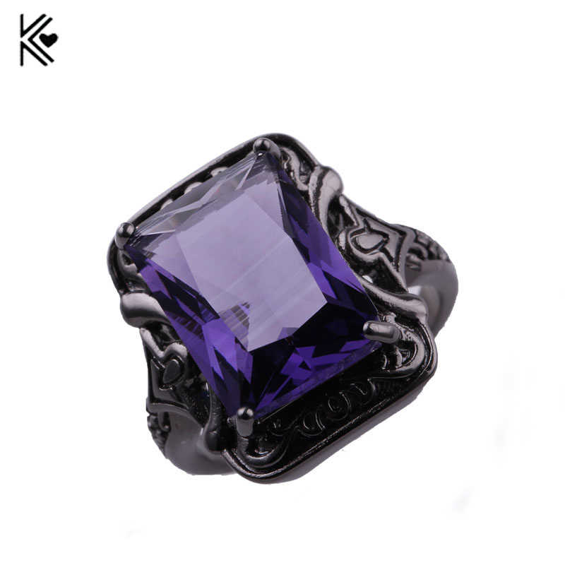 8 Style Male Female Big Purple Ring Fashion Black Gold Ring Vintage Wedding Rings For Men And Women Jewelry Valentine's Day Gift