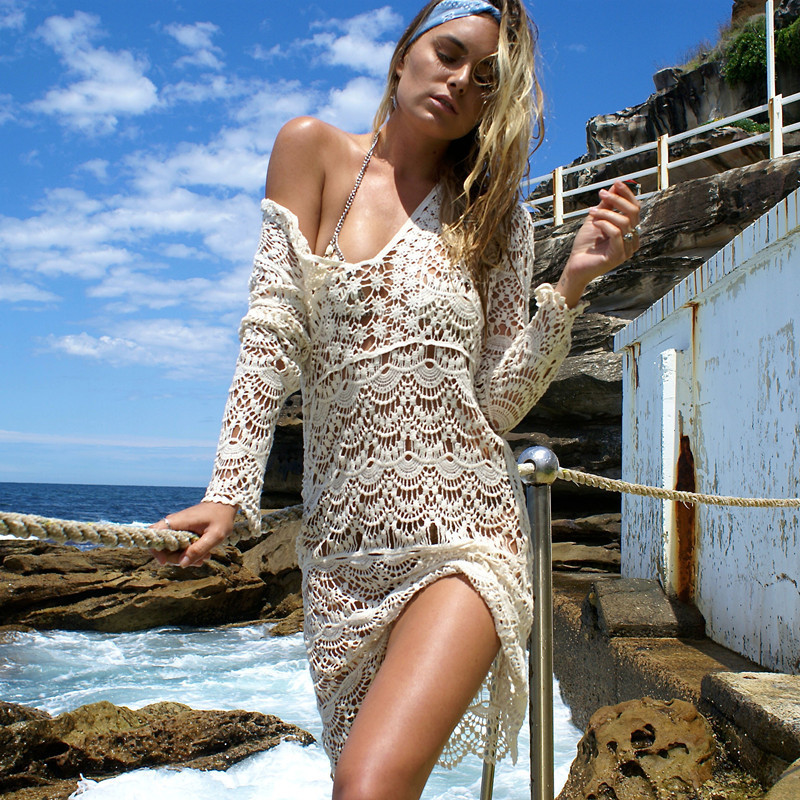 fb1fbb0e99 Sukibandra Sexy Ladies White Handmade Crochet Summer Lace Long Sleeve  Bohemian Dress