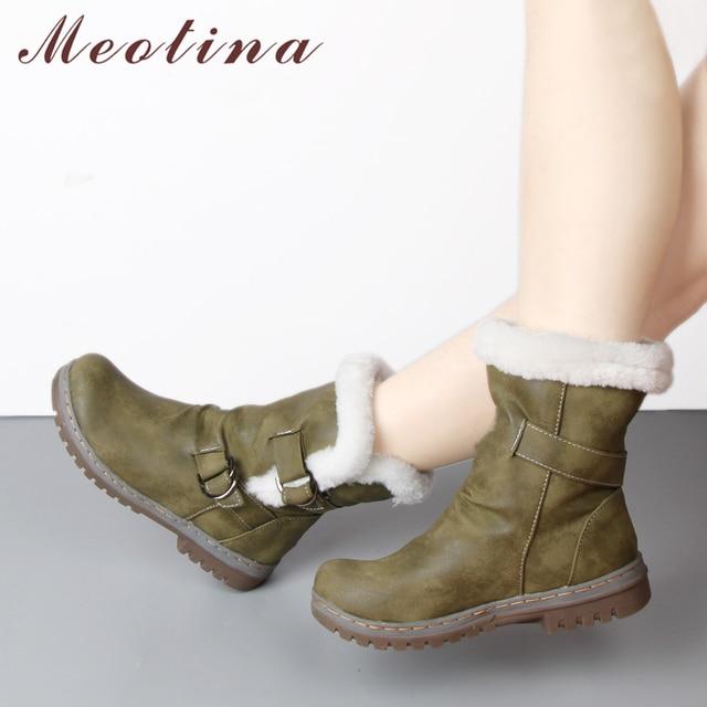 Meotina 冬の雪毛皮ウォームアンクルブーツバックル Mid 平方ヒールショートブーツつま先の女性の靴黄色サイズ 34-46