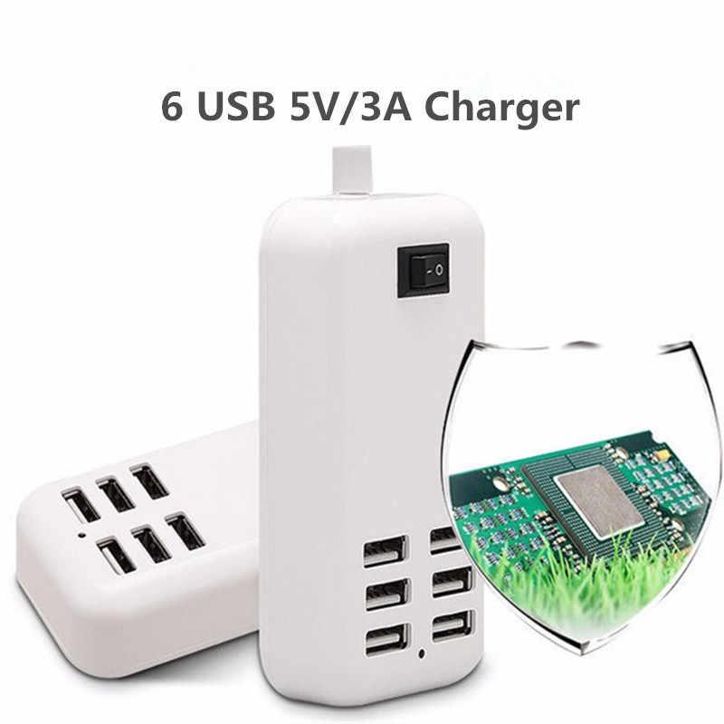 Faichoy EU/MỸ 3A Cắm Ổ điện Dock Sạc Nhanh Nối Dài Điện cho Điện Thoại Máy Tính Bảng Tốt USB HUB sạc 6 Cổng