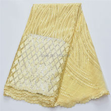 French Lace Fabric High Class African Laces Fabric Double Organza With Sequins Embroidery For Sewing Beauty Women Dress