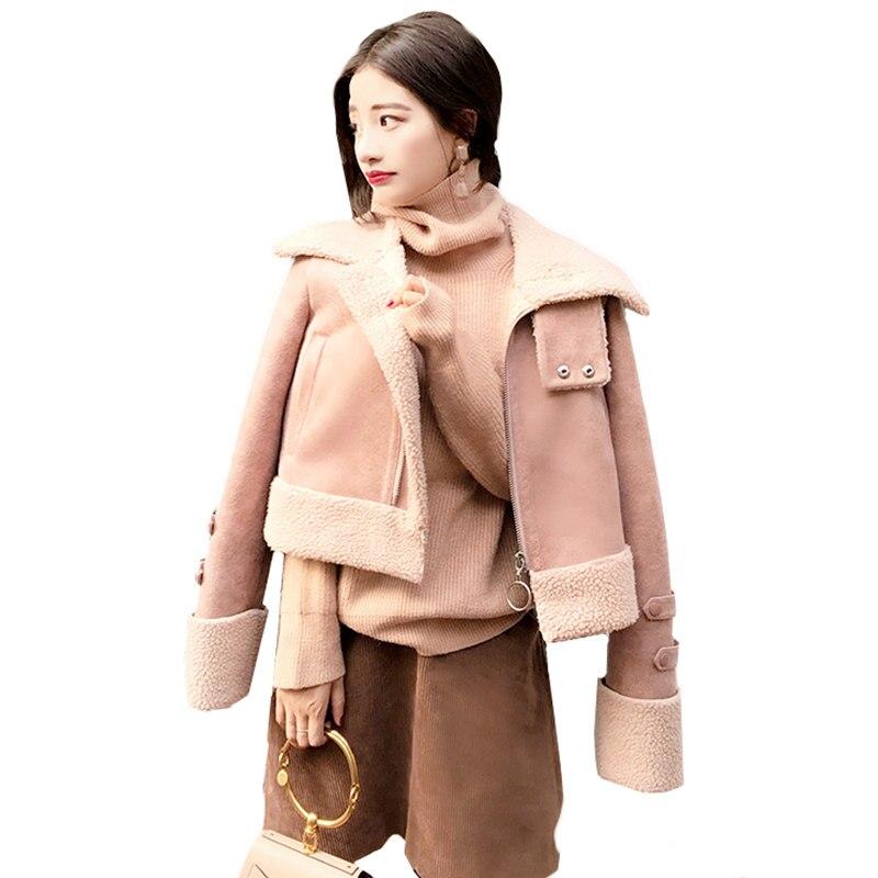 2017 Fall Winter Women Loose Wool Coat Parka Lamb Suede Coat Female Wadded Cotton Jacket Women Basic Coats,Manteau Femme Z71