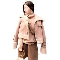 2017 Fall Winter Women Loose Wool Coat Parka Lamb Suede Coat Female Wadded Cotton Jacket Women