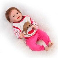 Promosyon Silikon Vinil 22 Inç Gerçekçi Reborn Bebekler Yenidoğan Kız Bebek Oyuncakları Gerçekçi Gülümseyen Reborn Çocuk Doğum Günü Hediye