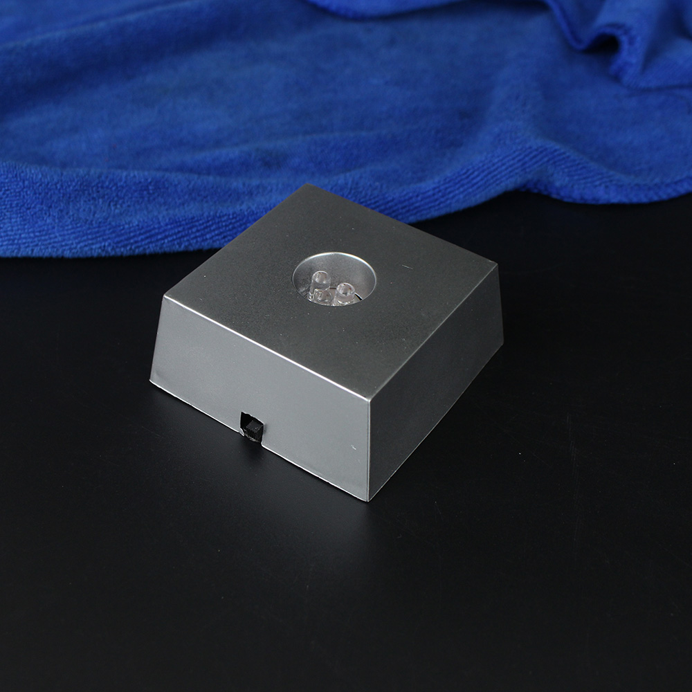 Small Square LED Plastic Light Base Support Crystal Cube Stand For Display Home Decoration