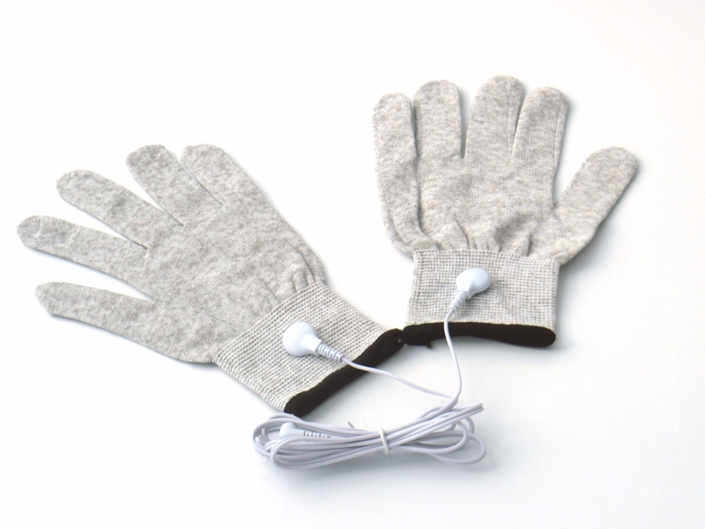 20Pairs Conductive Breathable Massage Gloves Low Frequency Device Silver Fiber Electrode Beauty Gloves With Plug 2.5mm Lead Wire