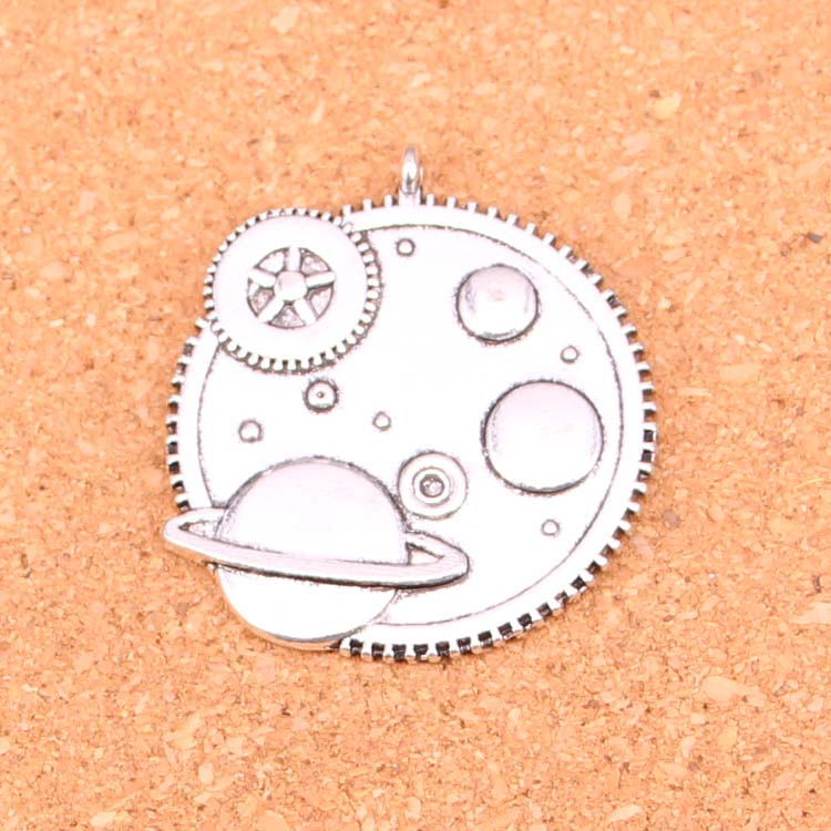 3pcs Antique Silver Plated solar system Charms Pendants for Necklace Bracelet Jewelry Making DIY Handmade 37mm