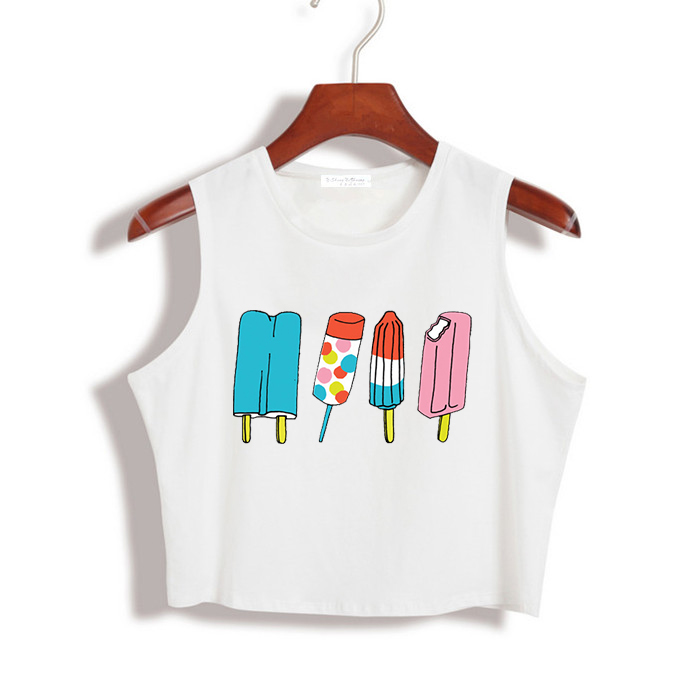 ice cream Print Summer Women <font><b>Crop</b></font> <font><b>Top</b></font> <font><b>Sexy</b></font> Slim Shirt For Girl Tank <font><b>Top</b></font> Tee Hipster Vest <font><b>Tumblr</b></font> Drop Ship ZT-20 image