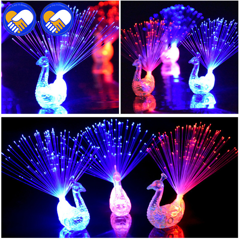 A TOY A DREAM 10pcs/5pcs/lot Novelty Design Colorful Light Peacock LED Light-up Finger Toys Best Christmas Halloween Party Gifts