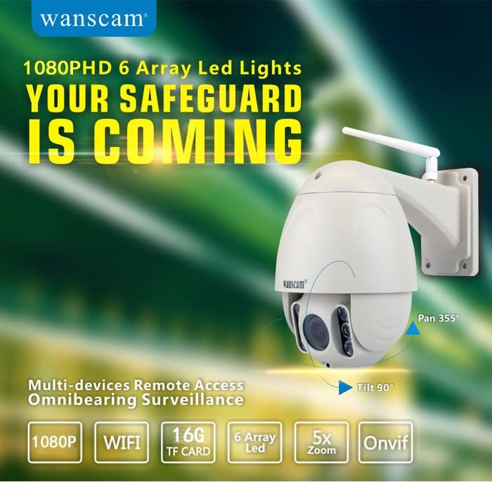 PTZ 5x Zoom Onvif Build in 16G TF Card Waterproof Wireless Wifi P2P Security Surveillance Camera Dome IP66 1080P Wanscam HW0045 wanscam dual audio hd 720p 3x digital zoom wireless wifi p2p ip camera support 128g tf card surveillance camera