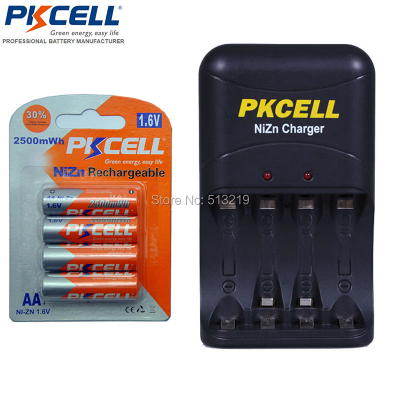 4Pcs 1Pack 1 6V 2250mWhrs to 2500mWhs NI ZN AA Rechargeable Battery and 1PC Ni Zn