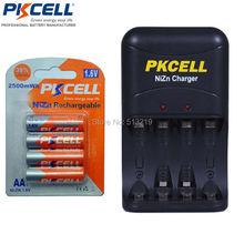 4 unids 1 pack 1.6 v 2250 850mwhrs a 2500 mwhs ni-zn aa batería recargable y 1 unid ni-zn cargadores de batería de la ue/ee.uu. plug