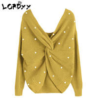 LORDXX Twisted Back Sweater Women Jumpers Pullovers V Neck Backless Long sleeve sweater with beads oversized yellow sweater