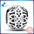 Hot Sell Original Charm Fit Bracelet 925 Sterling Silver Intricate Lattice Openwork Ball With Clear CZ DIY Jewelry