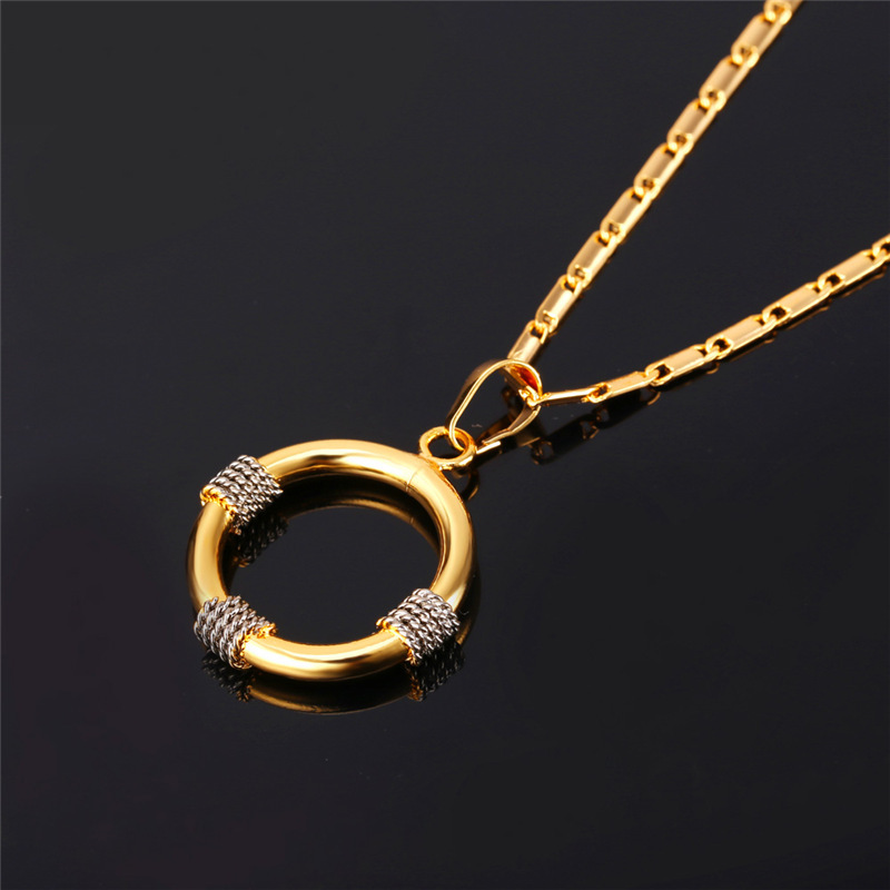 U7 African Jewelry Set Gold Color Unique Necklace Set Trendy Round Necklace Earrings Jewelry Set Women S662