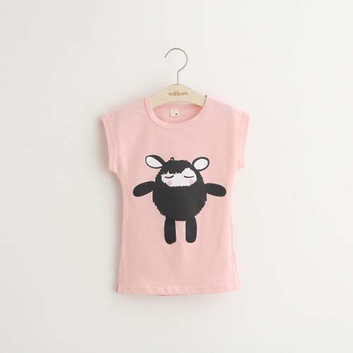 New 2019 summer girls round neck short sleeve T-shirt cartoon children cute girls long T-shirt shirt tops