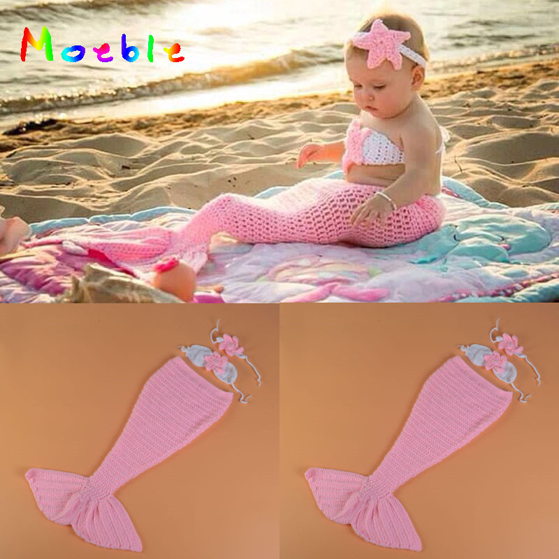 Pink Color Baby Girl Mermaid Photo Props Knitted Mermaid Tail with Bra and Headband Set Infant Cartoon Costume MZS-16055 comfortable multicolor knitted mermaid tail design blanket
