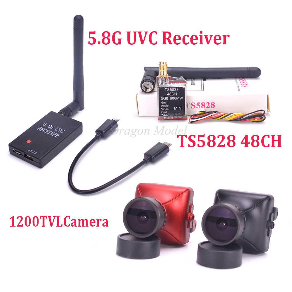 Мини TS5828 48CH 600 мВт и 5,8G FPV приемник UVC видео нисходящий OTG VR Android телефон и 1200TVL 1/3 CMOS SUPER HAD II Мини камера