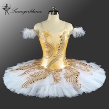 Canary Fairy Professional Ballet Tutu Yellow Gold,Platter Plate Tutu Skirt, Performance Classical Ballet Costume For WomenBT9148
