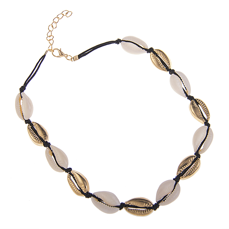 Golden Shell Necklace Bracelet Footchain Summer Beach Accessories Ladies Gift Natural