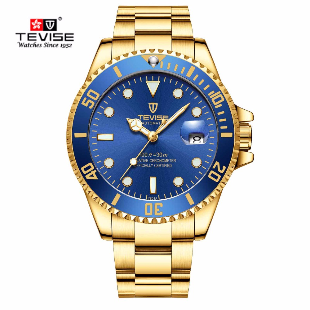 Tevise Brand Men Mechanical Watches Automatic Watch Famous Design Fashion Luxury Stainless Steel Gold Clock Relogio Masculino tevise luxury brand fashion phoenix women watches luminous clock womens steel gold bracelet automatic mechanical ladies watch