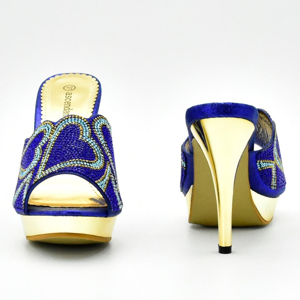SB8154 3 sweet heart sharp stones design slippers with clutches bag mix  color royal blue and turquoise blue nice shoes and bag-in Women s Pumps  from Shoes ... 5365a56ebbc1