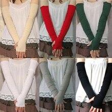 Womens Cotton UV Protection Arm Warmer Long Fingerless Gloves Sleeves