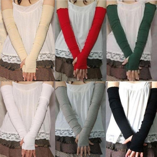 Women's Cotton UV Protection Arm Warmer Long Fingerless Long Gloves Sleeves 9DX8
