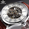 SEWOR Top Brand Black Skeleton Mechanical Watch Men Leather Wristwatches Casual Watches Clock Montre Homme Relogio Masculino