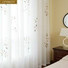 Занавески для гостиной, ручная роспись, французский стиль, масляная живопись, занавеска для спальни, элегантный белый тюль, на заказ