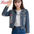 Harajuku Jacket Women 2016 New Style Turn-down Collar Patch Designs Ladies Denim Jackets Blue Color Frayed Hole Chaqueta Mujer