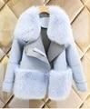 Nova moda das mulheres lã casaco de inverno quente faux pele de raposa casaco de luxo mulheres casaco de inverno da pele do falso das mulheres clothing