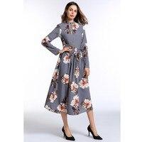 Zmvkgsoa New Arrival Spring Autumn Women Casual Midi Dress Floral Printed Vestidos De Festa Long Sleeve