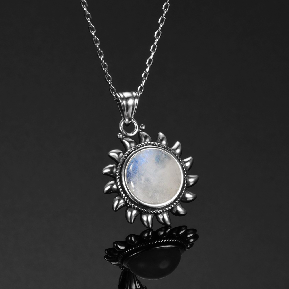 Natural Moonstone 925 silver jewelry Pendants Necklaces For Women Men Sun Geometric Shape Vintage Fashion Woman Pendants Hotsale