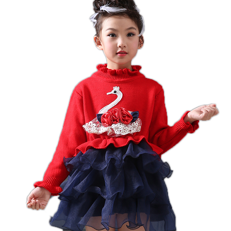 2017 New Toddler Girl Dresses Cartoon Swan Printed Girls Knitted Sweater Dresses Princess Pullovers Sweaters Princess Dress t100 children sweater winter wool girl child cartoon thick knitted girls cardigan warm sweater long sleeve toddler cardigan