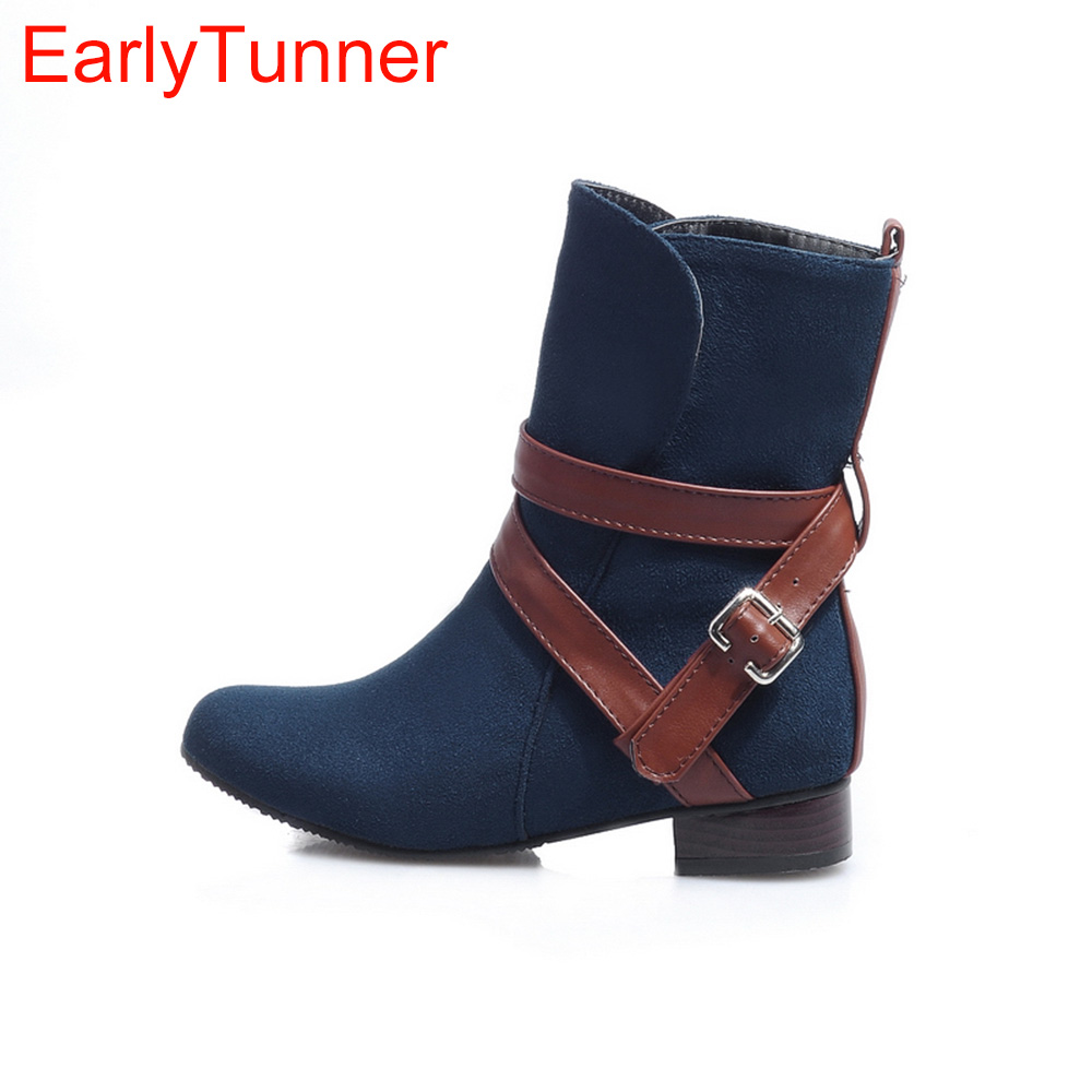 Hot New Sexy Red Black Brown Blue Women Riding Motorcycle Ankle Boots Ladies Shoes low Heels AQ106U Plus Big Size 47 33 12
