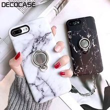 DECOCASE Luxury Black White Marble  Women Men  Fringer Ring Sosft Mobile Phone Cases for iPhone 6 6s 7 8 Plus X XR XS Max Covers