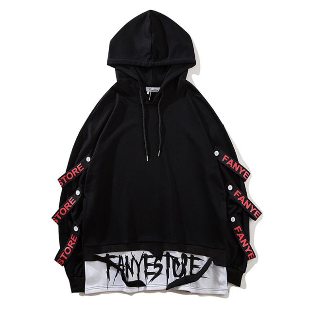 Fake 2 Pieces Ribbons Hooded Pullover 4